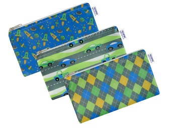 Flashy Set of 3 Cloth Snack Bags with Zippers