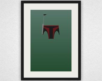 Boba Fett - Star Wars Masked Minimalist Print