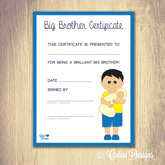 Big Brother Certificate Black Hair By Cutestdesignsonline