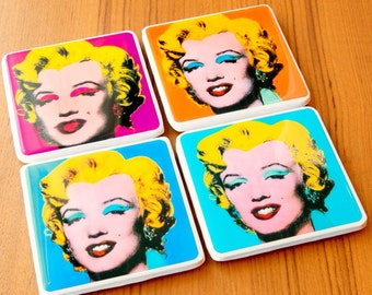 Marilyn Monroe Coasters Andy Warhol Print Marilyn Monroe Decor Pop Art Retro Coasters Tile Coasters Resin Mold Gifts For Women