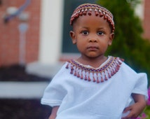 African clothing - White African Kaftan & Beads Unisex Outfit for Children - For Baby or Toddler, Boy or Girl