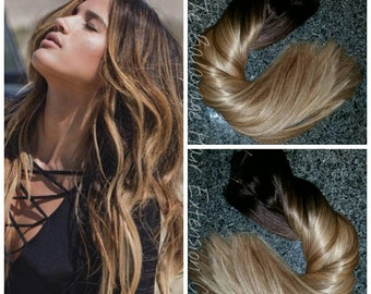 Sombre hair etsy balayage remy clip in extensions 220 grams 24 inches sale pmusecretfo Gallery
