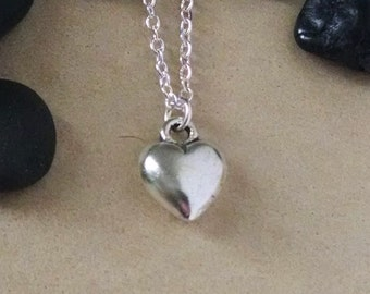 Heart Charm Necklace, Heart Jewelry, Swarovski Crystal Necklace, Pillow Heart Necklace, 3D Heart Charm, Valentine's Day Gift, Gift for Her
