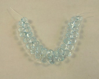 "Sky blue topaz faceted drop beads AAA 5-6.5mm 2.5"" strand"