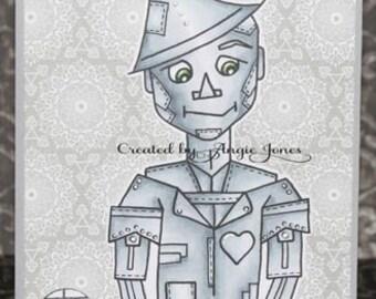 Digital stamp colouring image - Oz Heart Broken Tinman. jpeg / png