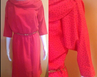Freedom retro 1980's raspberry red shawl / boatneck batwing day dress size 10