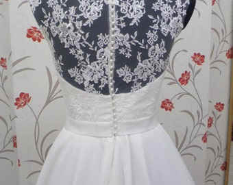Vintage Inspired Tea Length Wedding Dress with Lace Corset, Illusion Lace Neckline, Close Lace Back, Sweetheart, Chiffon Skirt