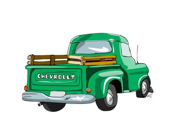 Art Print Classic Truck, hand- illustrated in pen and ink, digitally coloured Chevy