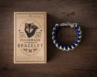Men's bracelet-women's silver grey-violet Unisex-Pulsemade Xark Collection-Handmade paracord 550 bracelet Mens-Womens silver Grey-Purple
