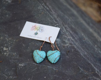 Beautiful Turquoise Howlite wire wrapped earrings