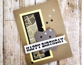 Handmade Happy Birthday Greeting Card, Great for a Child, Boy, Son, Nephew, Grandson, Grandfather, Scrapbook Paper, Maps and Cowboy Font