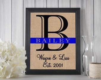 Police Gift   Police Officer Wedding Gift   LEO Sign   Housewarming Gift   Family Name Burlap Print   LEO Decor   Police Retirement Gift