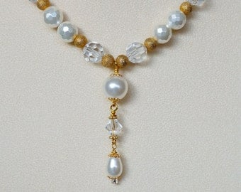 Bridal Necklace with Swarovski Crystals and Pearls- Gold Plated Beads