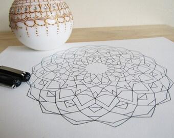 Drawing Mandala Print