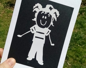 Vinyl Sticker Greeting Card // Black and White