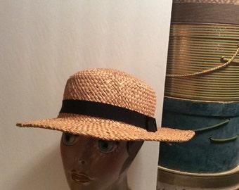 20% OFF SALE Vintage 1960s  Natural Straw Boater Hat