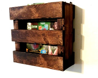 wall mounted rustic wood magazine rack menu holder resturaunt decor