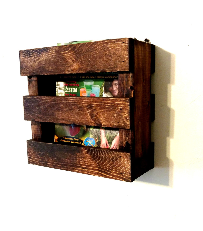 Wood Magazine Rack ~ Wall mounted rustic wood magazine rack menu holder resturaunt