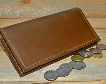 Leather Checkbook Cover / Men's Women's / Handcrafted Wallet / Made in the USA / Brown Checkbook / Handmade / Rustic