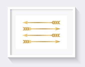 Faux Gold Arrows Print, Faux gold Print, Arrows Print, Instant download