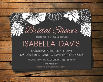 Simple White Flowers Bridal Shower Invitation