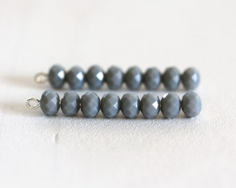 1716_Mat grey beads 6x4 mm, Rondelle, Glass beads, Crystal beads, Roundel faceted beads, Crystals, Glass faceted beads for jewelry_95 pcs.