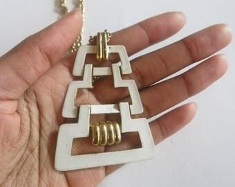 1970 trifari necklace geometric chain link mod jewelry aztec costume estate