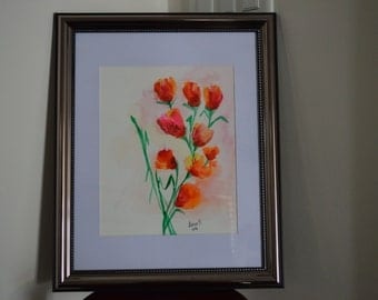 Tulip Flower Bunch Original Watercolours Painting