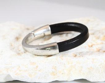mens Black Licorice half cuff leather bracelet