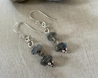 Labradorite earrings  Sterling silver earrings  Handmade earrings  Dangle earrings  Artisan earrings  Bohemian earrings (#30)