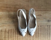 Vintage White Leather Slingback Pumps Sz 8.5