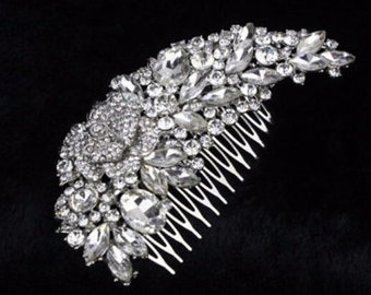 "Hair comb, bridal rhinestone hair comb, bridal hair accessory, silver tone. 6"" x 2""."