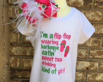 Summer Flip Flop Shirt and Bow