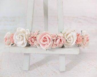 Flower crown - white and pink headpiece - white blush flower wedding hair accessories - floral hair wreaths for girls - garland