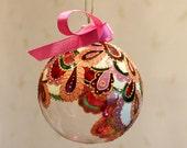Christmas Tree Ornament, Holiday Decor, Glass Ornament, Hand Painted Christmas Ornament, New 2016, Christmas Gift