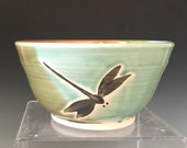 Pottery Dragonfly Serving Bowl, Ceramic Hand Painted Bowl.