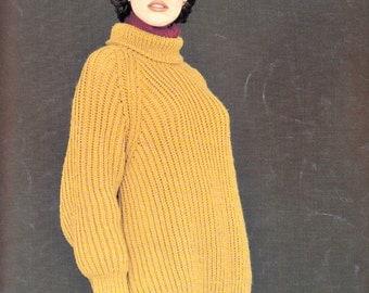 Aran Sweater Knitting Pattern, Aran Knitting Pattern, Aran Knit Sweater Pattern, Womens Sweater, Rowan Magpie Chenille Aran Knitting No.555