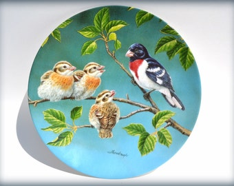 "Vintage ""Today's Discoveries"" collectable Plate, Pocelane Plate,  Backyard Harmony collection plate, Birds decor, Joe Thornbrugh  plate"