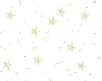 Michael Miller - Magic - Sarah Jane - Lucky Stars - MD7194-WHIT-D - Metallic - White - Gold
