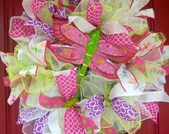 Dragonfly Wreath. Summer Wreath. Front door Wreath
