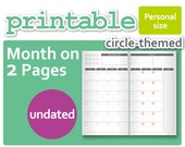 Circle-Theme Mo2P Month-On-2-Pages for Personal Size
