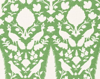 SCHUMACHER CHENONCEAU FRENCH Toile Linen Fabric 10 yards Aloe
