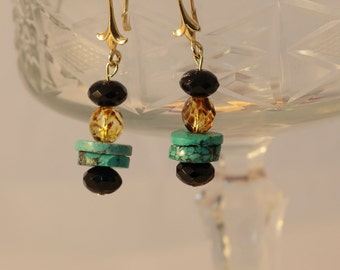 Dangle Drop  Turquoise Earrings  with Goldfield hooks  Ethical Handmade Gift for her