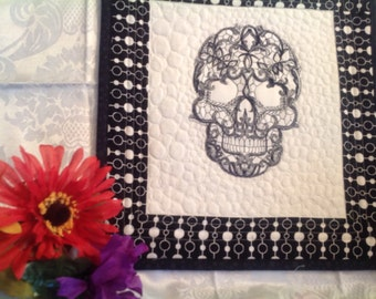 Black lacy Sugar Skull