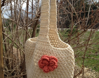 Small Crocheted Market Tote with Removable Flower Pin