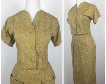 Vintage 40s dress / vintage 50s dress / 1940s dress / 1950s dress / day dress / wiggle dress / M1133