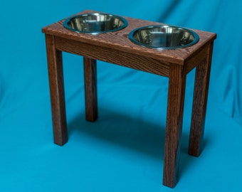 "Elevated Dog Feeder 18"", Two Stainless Steel 2 Quart Bowls,  Solid Oak Wood"