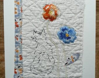 Textile Art Cat Picture onto Antique Quilt Scrap, Vintage Embroidery, Vintage Fabric, Unframed Textile Black Cat Collage Collage