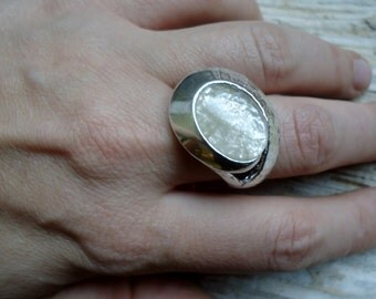 Rutilated quartz silver ring