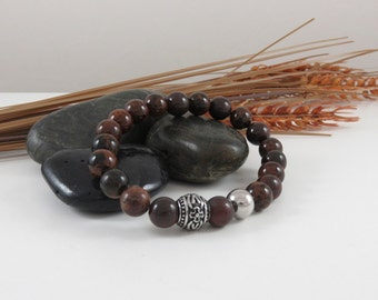 Men Jasper and stainless steel bracelet